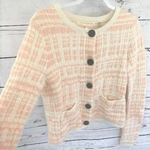 NEW Knitted & Knotted pink plaid sweater cardigan